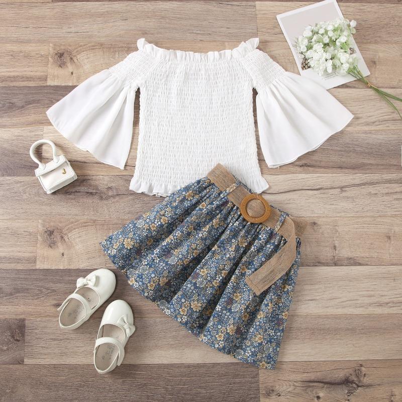 Abbigliamento Set Baby Girl Abbigliamento Abbigliamento a manica svasata Pullover + Skirt pieghettato stampa floreale Bambini Bambini Bambini Bambino Set di abiti da due pezzi Abiti