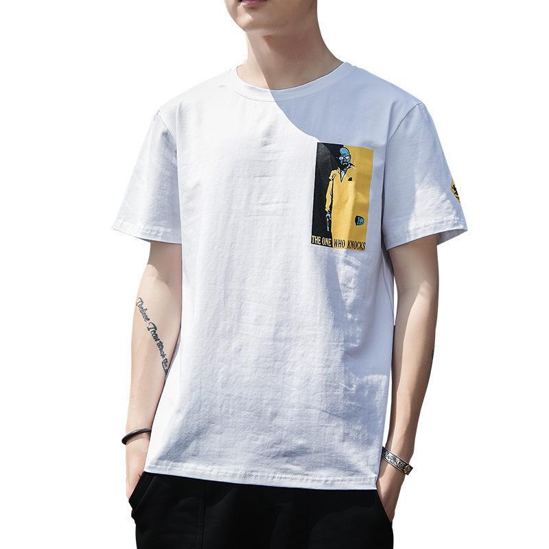 Мужская футболка мужская с коротким рукавом 2020 новая летняя тенденция мода свободного половины рукава нижняя рубашка с коротким рукавом