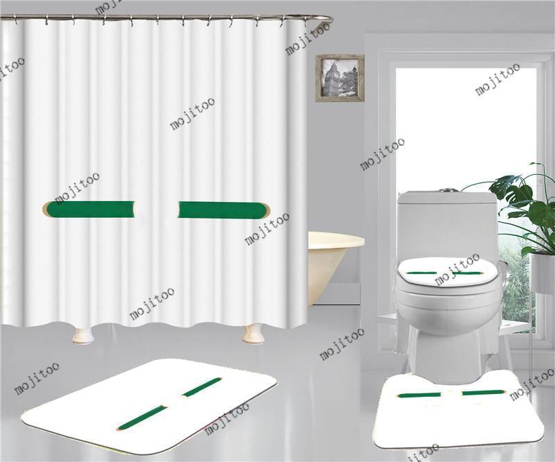 하이 엔드 인쇄 샤워 커튼 4pcs 세트 패션 스타일리스트 홈 욕실 액세서리 방수 미끄럼 방지 욕실 화장실 매트