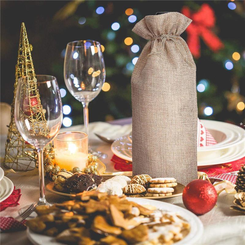 Bolsas de regalo de botella de vino de nueva coloración con cordón para bodas, favores de fiesta, navidad, vacaciones y degustación de vinos Suministros de fiesta rápido Envíe Lla7153