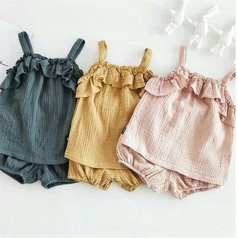 Ins new младенческие девочки рваные танк вершины + шорты falbala 2 шт. Устанавливает летние новорожденные ребенка детская хлопчатобумажная одежда A5882
