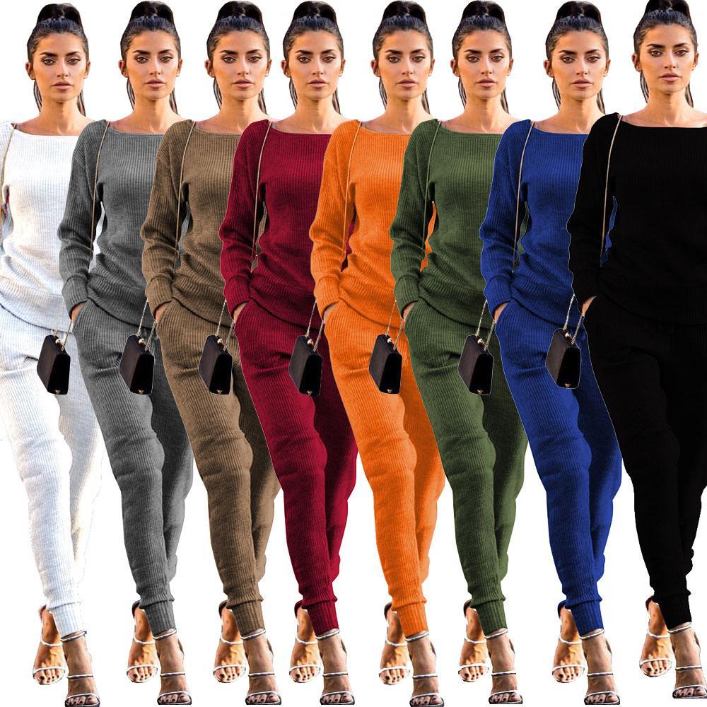 Zwei Teile Sets Frauen Jumpsuits Strampler Anzüge Trainingsanzug für Frauen 2 Stück Set Strickpullover Langarm Hosen Neuester Stil