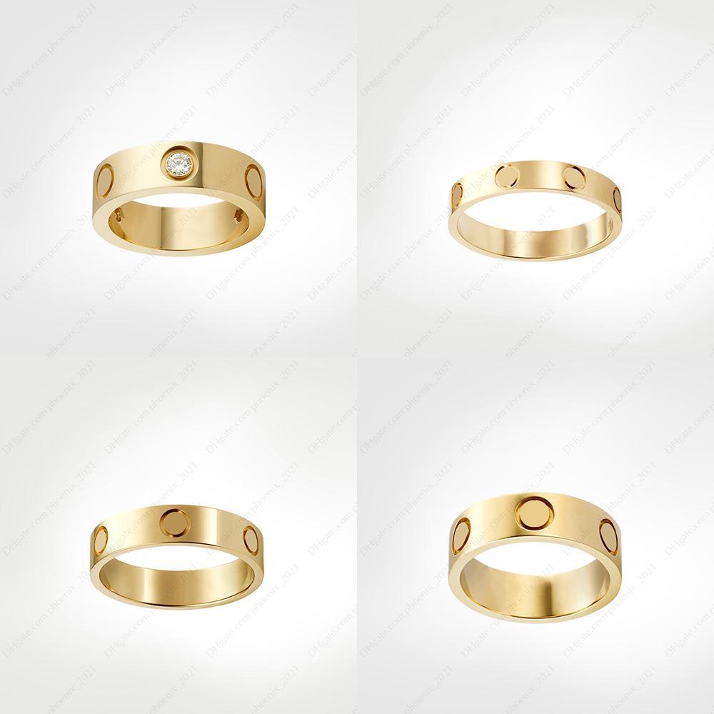 Love Vis Bague Bague Mens Bandes 3 Diamants Designer Bijoux de luxe Femmes Titane en acier Alliage En Alliage Gold-Plaqué Or Argent Silver Rose Ne disparaissant pas non allergique