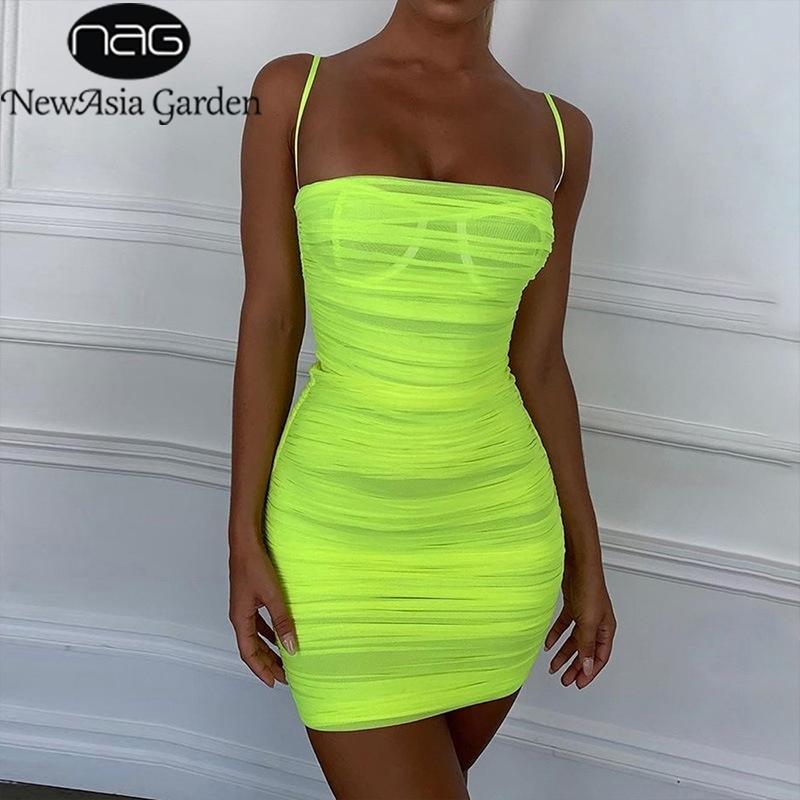 Newasia Mesh Yaz Elbise Sapanlar Seksi Bodycon Dantelli Elbise Kadın Parti Gece Kulübü Elbise Kadın Vestidos Moda Giysileri 210303