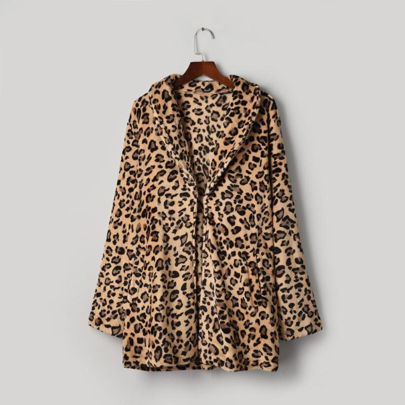 Trench Mulheres Leopardo Leopardo Faux Peles Bolso Fuzzy Quente Outono Inverno Oversized Outerwear Long Casaco Brown Fashion Tops