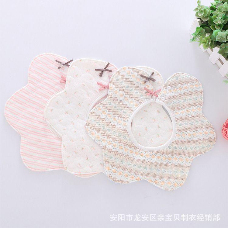 Neue 3-Schicht-Baumwolle wasserdicht 360-Grad-Rotations-Blumen-Speichel-Handtuch Kinder-Lätzchen-Reis-Tasche