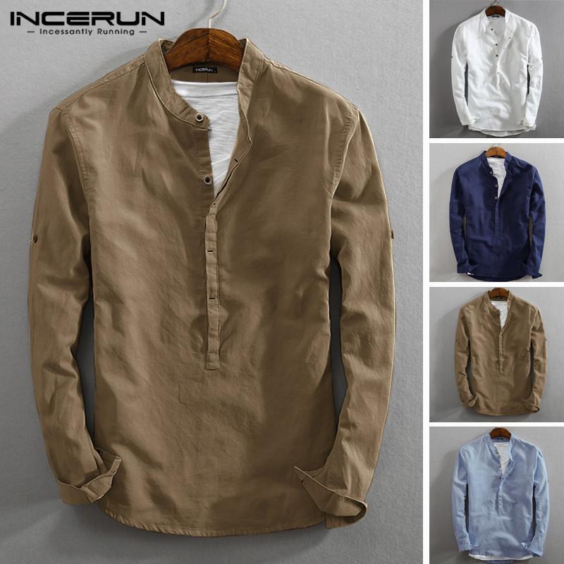 Ancerun Vintage Повседневная рубашка с длинным рукавом хлопчатобумажная льняная стойка воротник сплошной деловой улицы Хенли рубашки мужчины Harajuku 2021