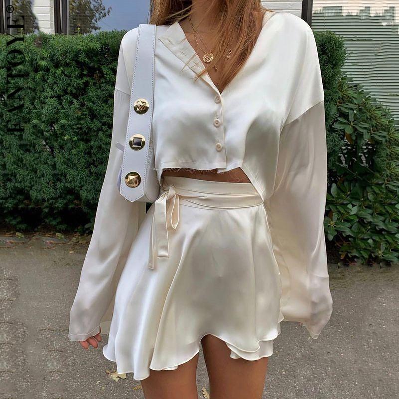 Çalışma Elbiseler Fantoye Rahat Saten İki Parça Elbise Set Kadınlar Için Beyaz O-Boyun Düğmesi Üst Bandaj Mini Kalem Etekler Kıyafetler Moda Parti Sui