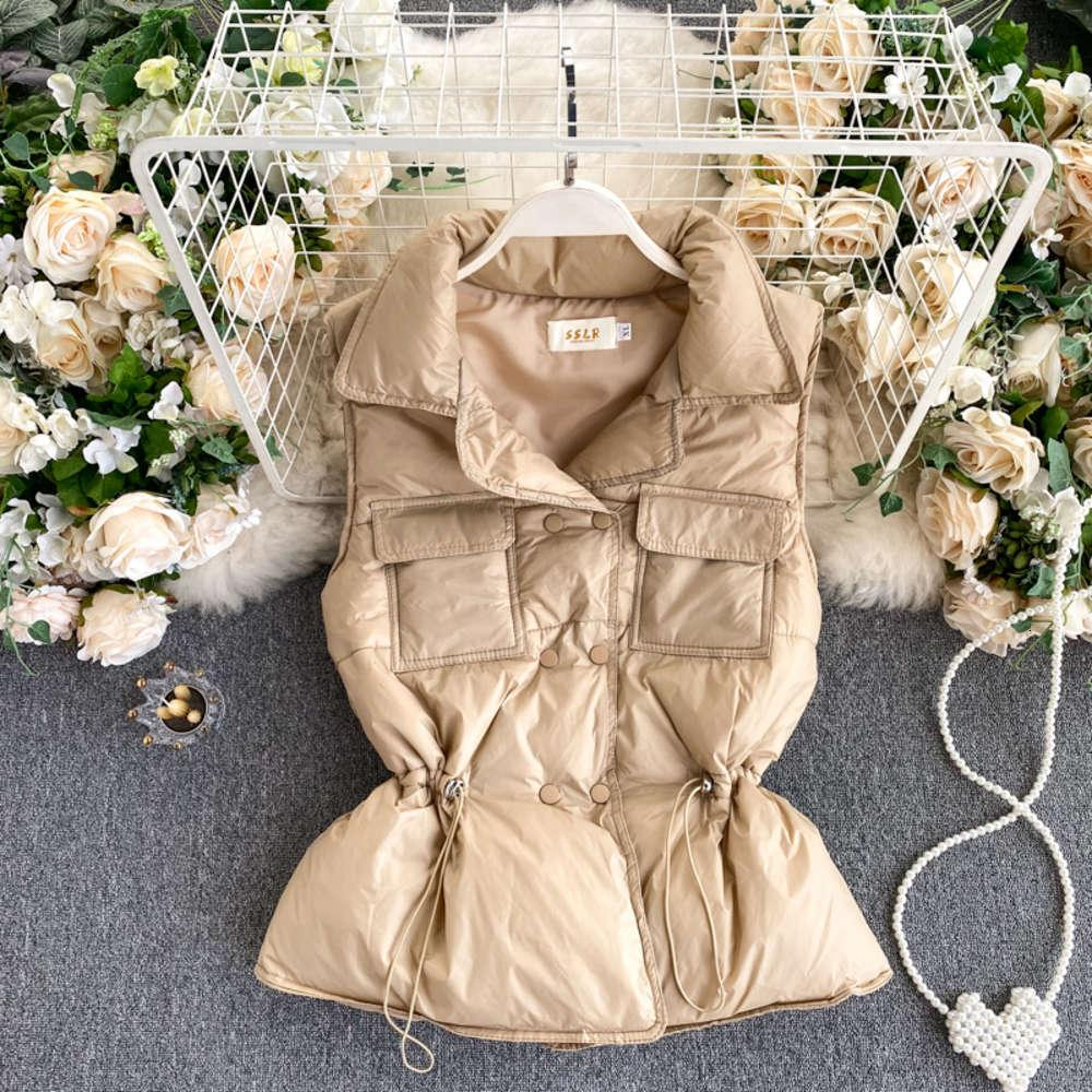 Foamlina Women winter thick vest jacket 2020 fashion turn down collar sleeveless buttons warm waistcoat casual female coat