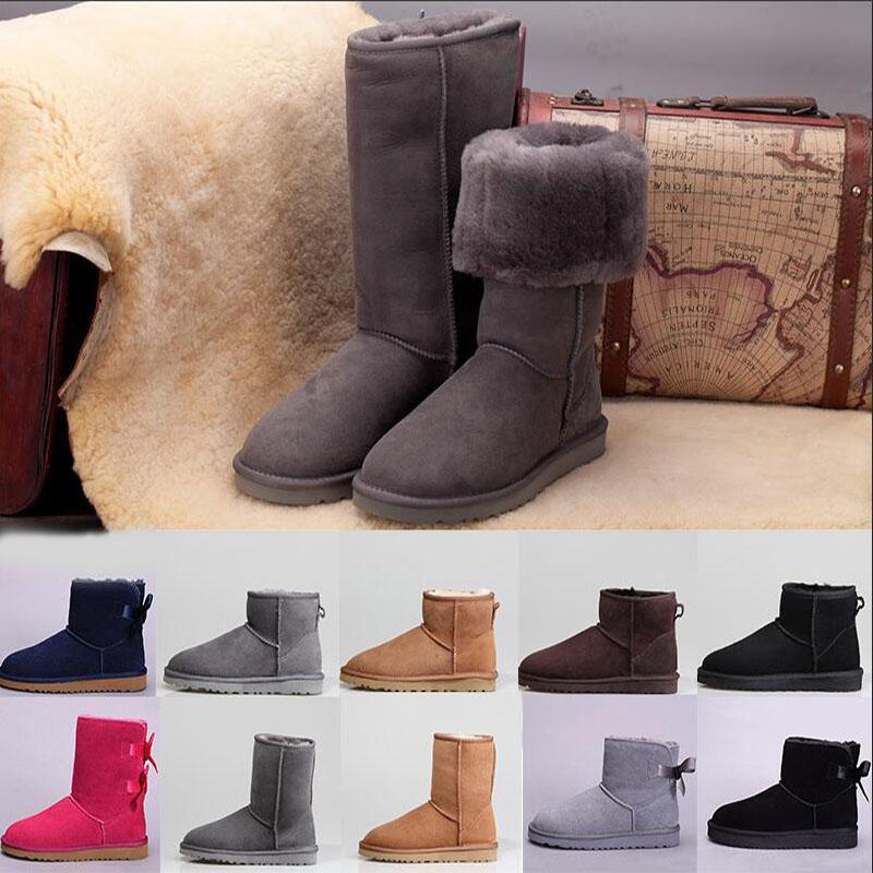 Fur snow luxury designer women winter wgg Australia boots leather classic kneel half long ankle black grey chestnut coffee warm bailey bow womens
