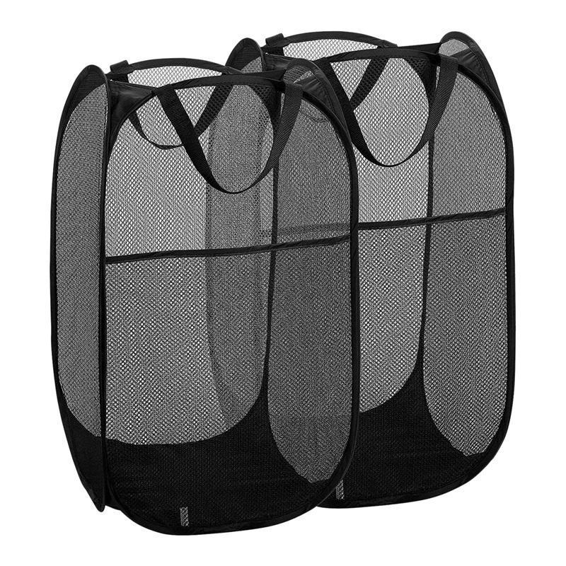 2 para con la ropa de lavandería de malla (Negro) Lavandería para manijas duraderas, almacenamiento plegable plegable, portátil, bolsas de bolsas -up para hturs