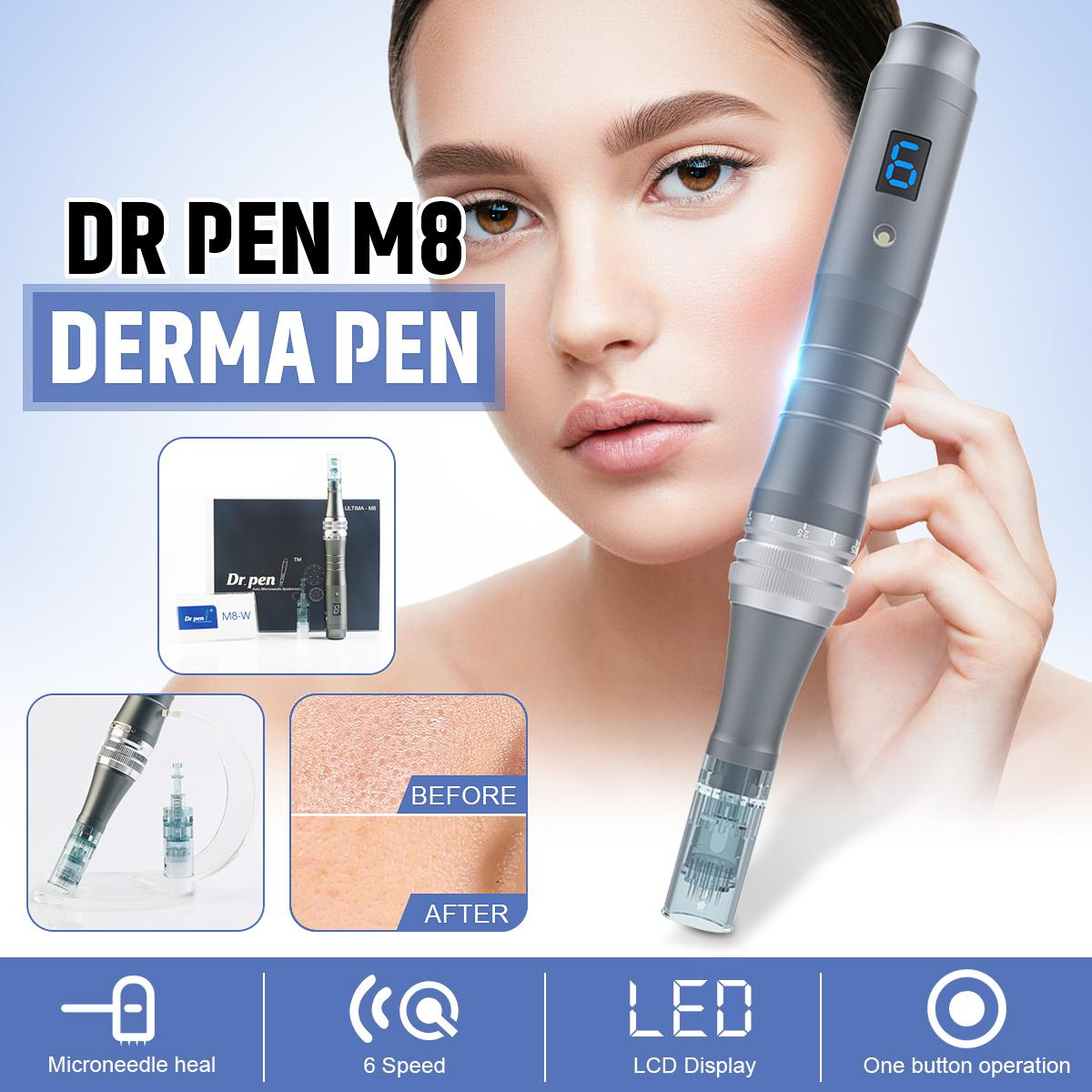 Professional Dr Pen M8-W Rechargable Wireless Microneedling Needle LED Electric Dermapen Derma Stamp face Skin Care MTS Anti Acne Scar with Cartridge use