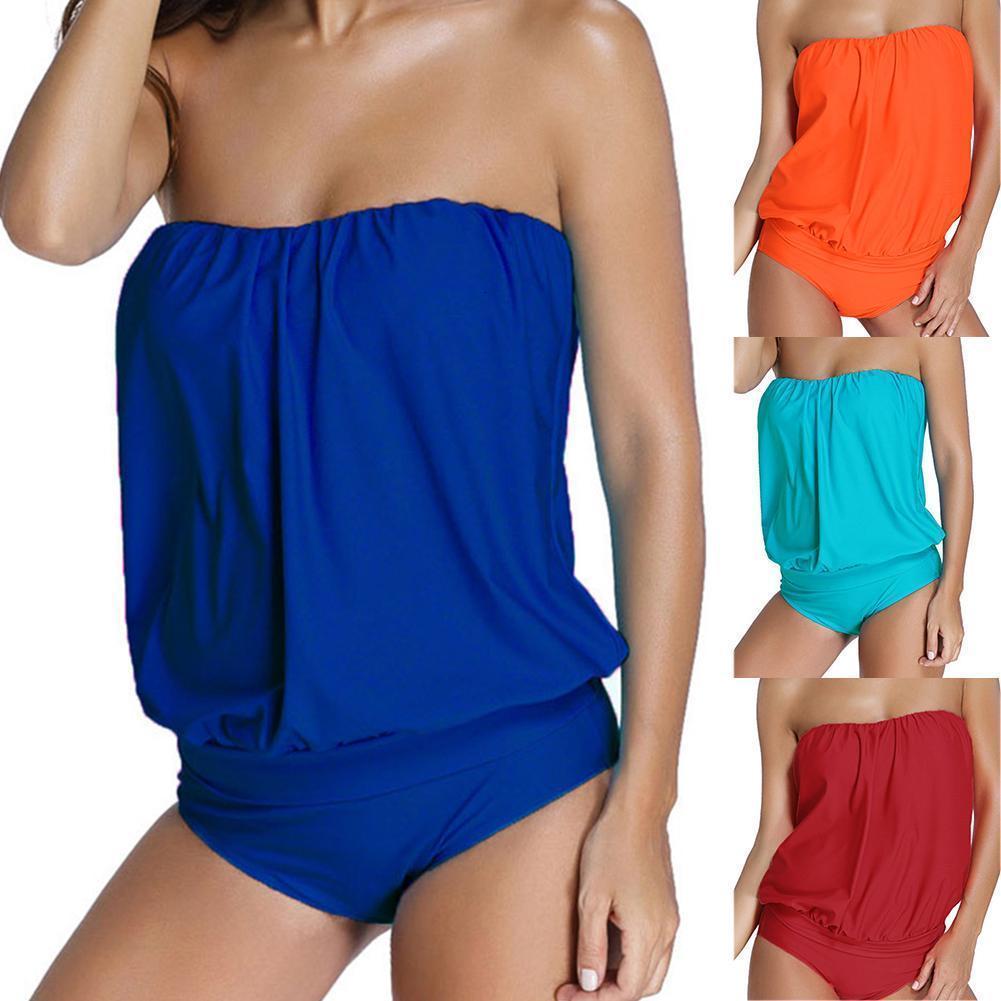 3XL Artı Kadın Boyutu Katı Renk Backless Straplez Plaj Tek Parça Mayo Mayo Bodysuit Mayo Yüzmek Giyim Ho