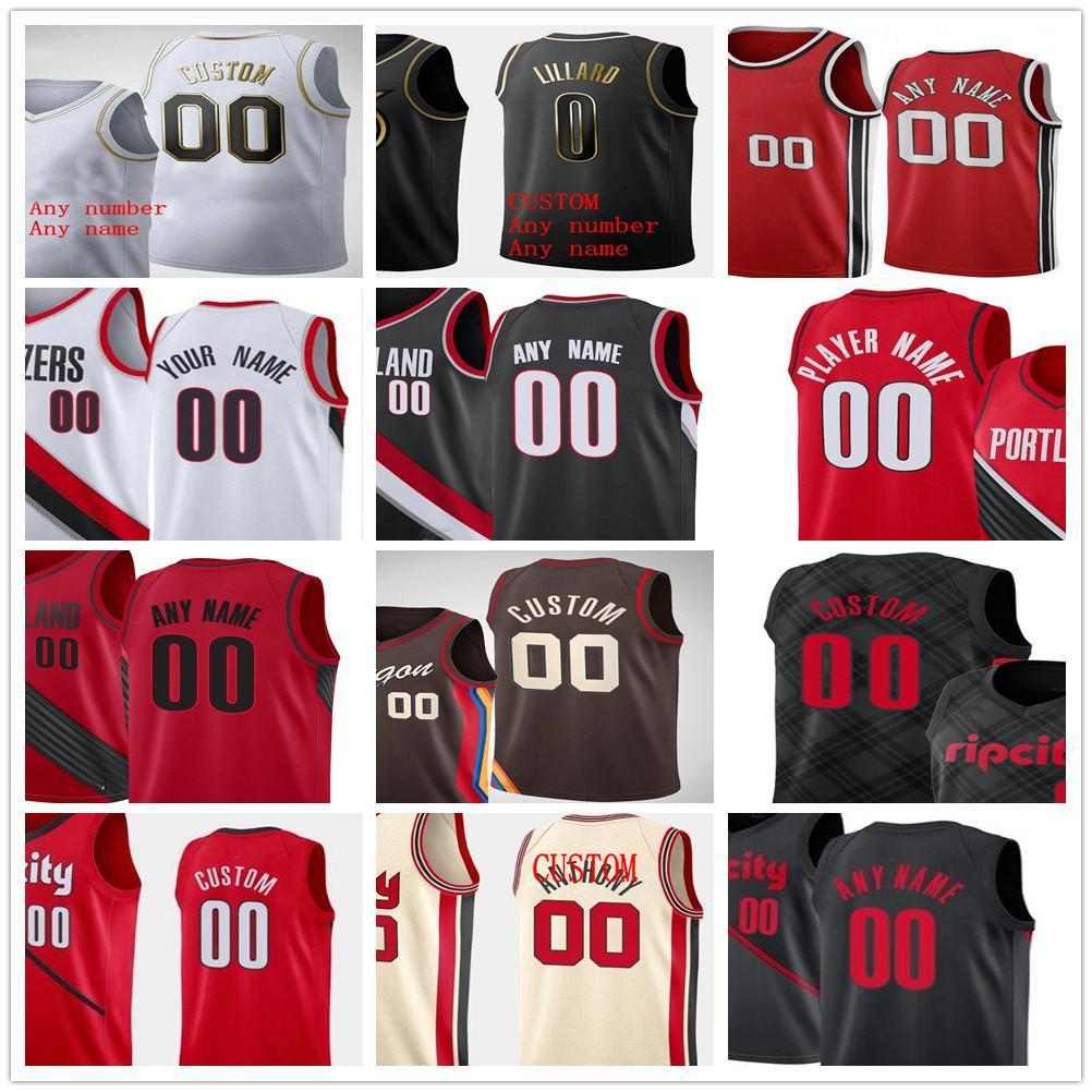 Personalizado 2021 Impresso Damian 0 Lillard CJ 3 McCollum Jusuf 27 Nurkic Carmelo 00 Anthony 33 Covington Homens Mulher Crianças Blazers Jerseys