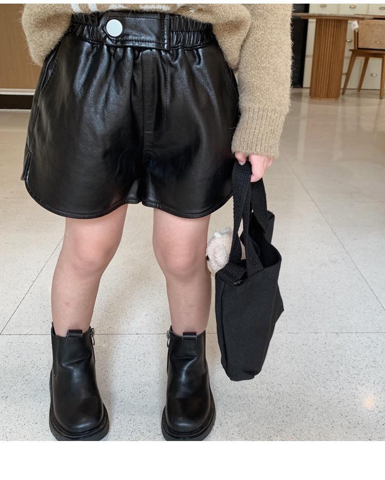 XG Lovely New INS Kids Girls PU Shorts Autumn Leather Shorts Buttons Pockets Fashions Girls Children Girls Shorts