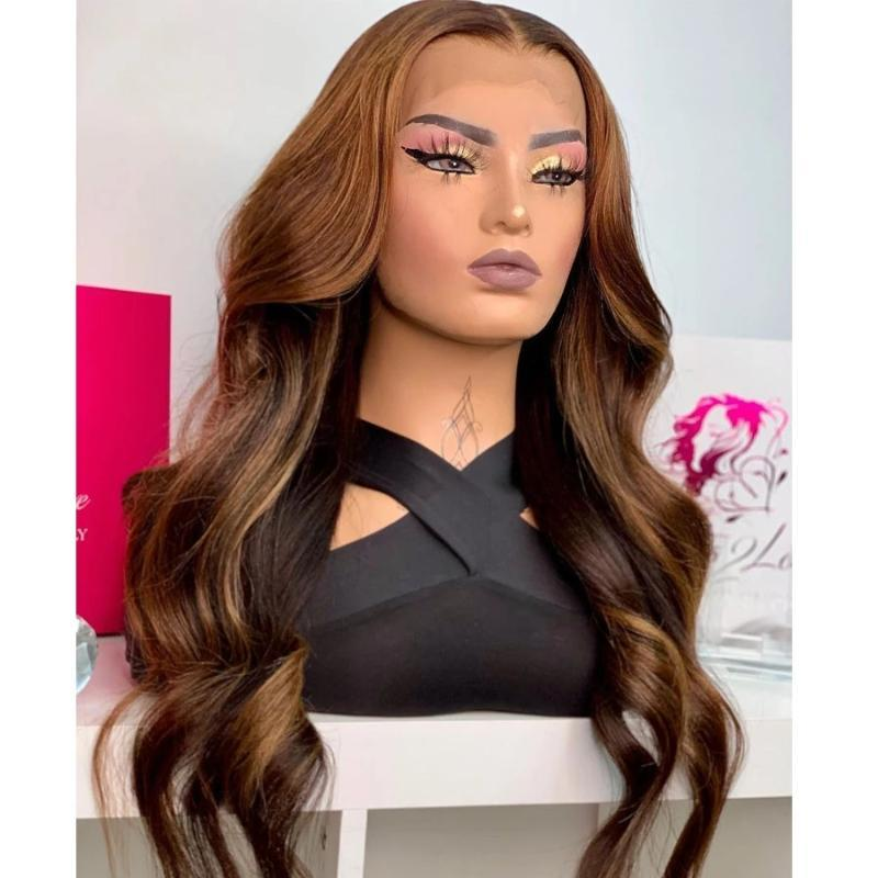 Lace Wigs Ombre Dark Brown Human Hair Wig Highlight Wavy 13X6 Deep Part Front Pre Plucked For Women Remy Bleached Knots Glueless