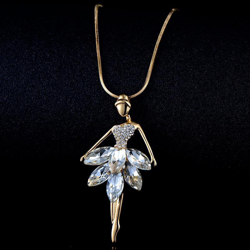 Mode Ballett Mädchen Tänzerin Anhänger Halskette Kristall Diamant Charm Ballett Halskette Langkette Schmuck Weihnachten Valentinstag 412 T2