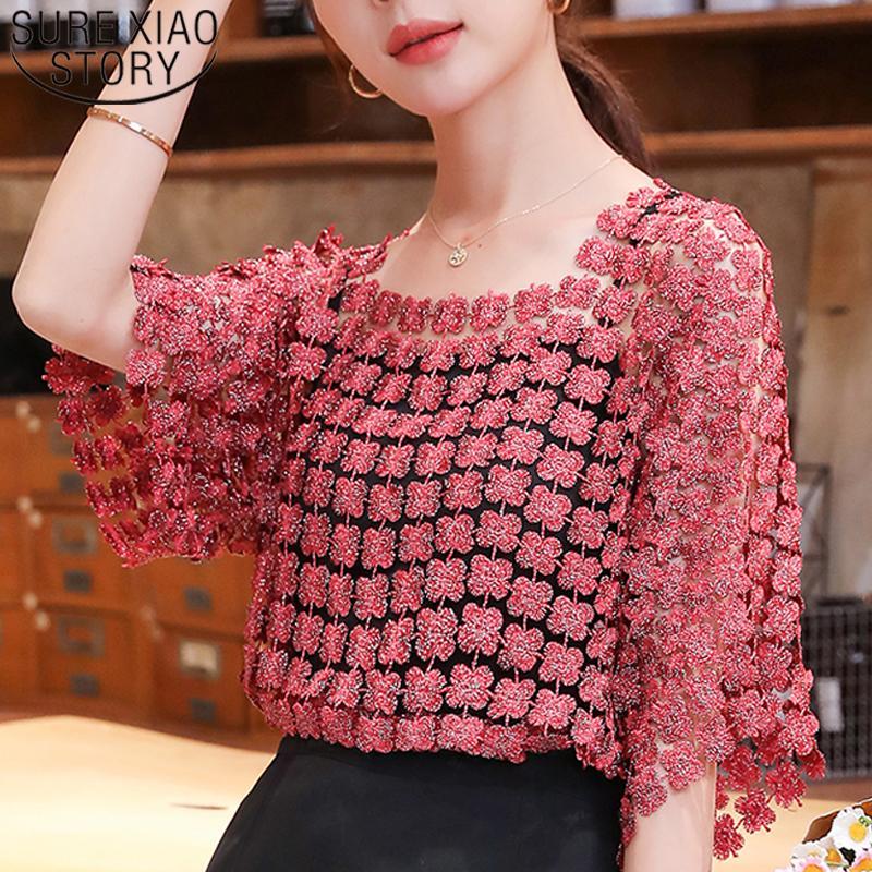 Camicia in chiffon Top Camicia con fionda a colori solido a due pezzi in pizzo in pizzo in pizzo Top sexy elegante maglia pullover Bluss Mujer 210226