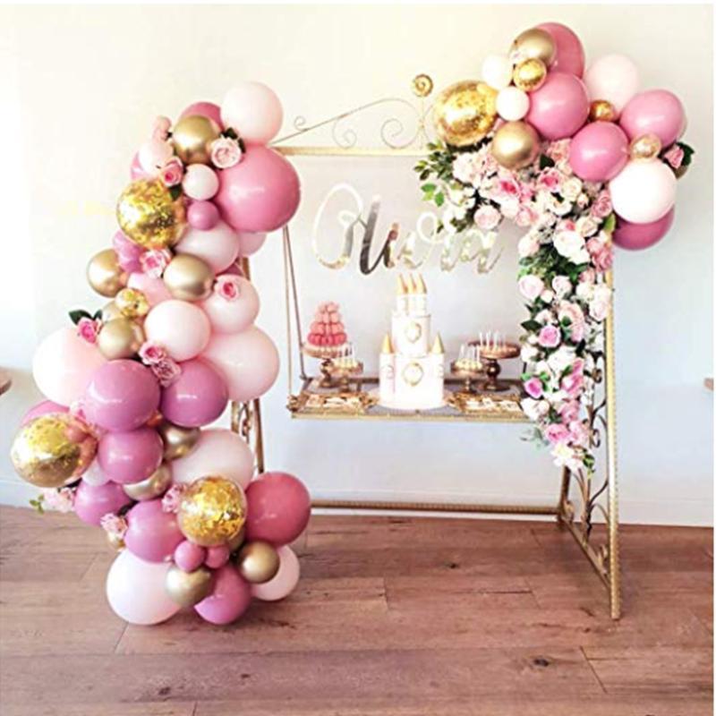 Fiesta decoración globo guirnalda arco kit 101 unids rosa y oro globos para fiestas cumpleaños boda baby baby ducha decoraciones niña niño