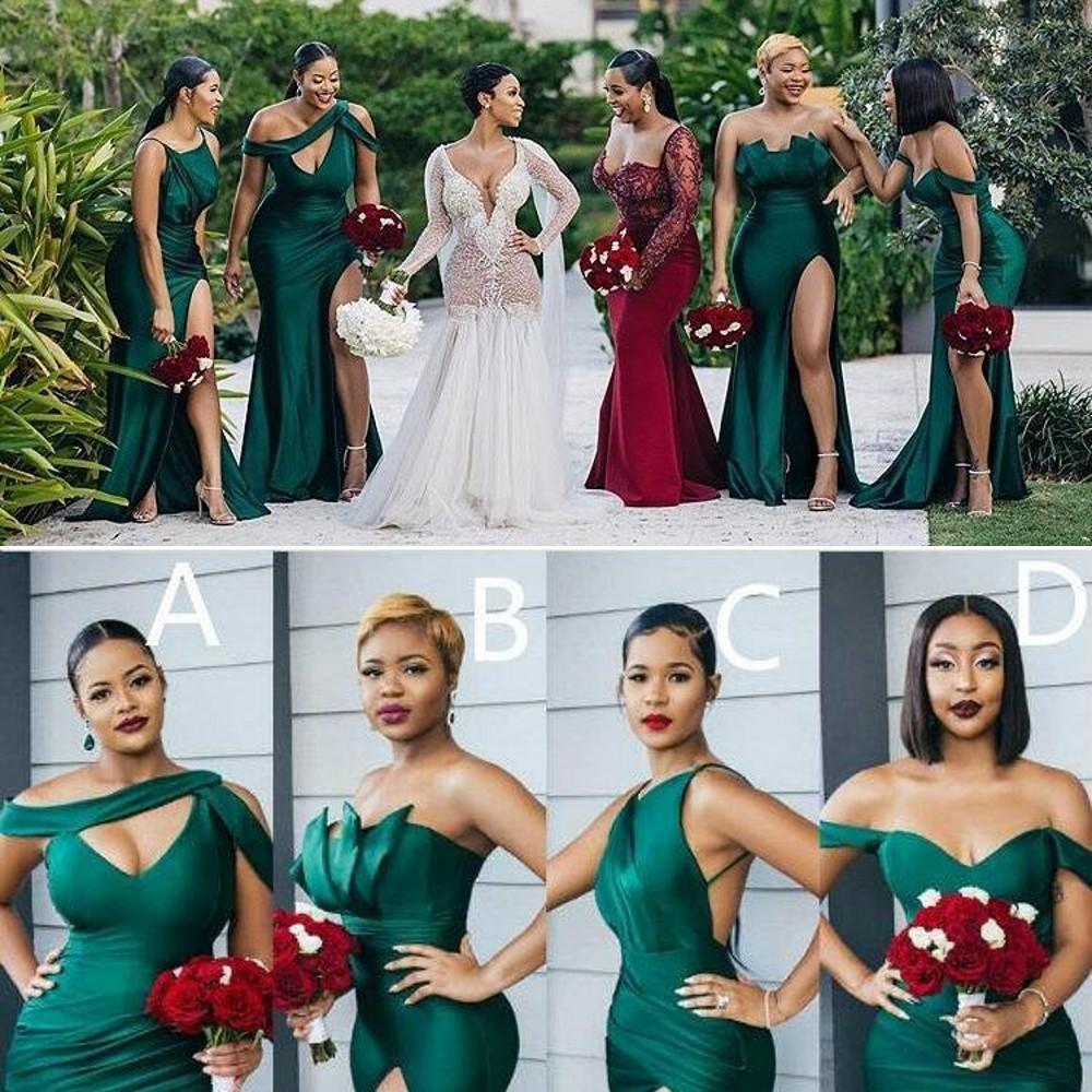 2021 아랍어 우아한 라인 신부 들러리 드레스 4 개의 스타일의 숄더 층 길이에서 찢어진 섹시한 하녀의 명예 가운 공식 드레스