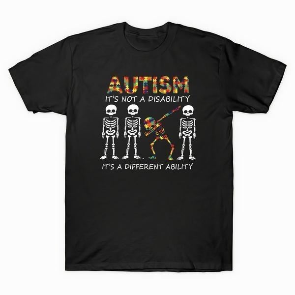 T-shirt da uomo 2021 Scheletro Autismo Non è una disabilità Diverse capacità vintage t shirt t-shirt in cotone