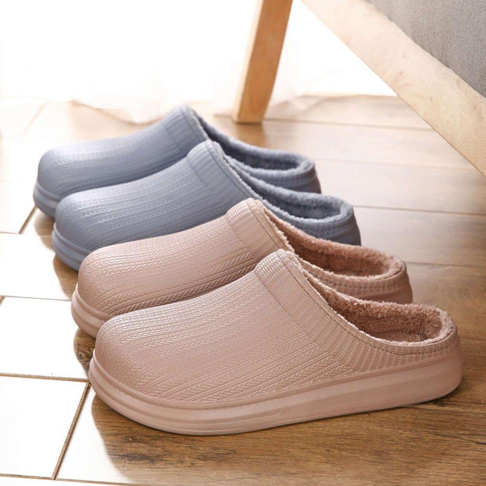 2020 Kış Yeni Yetişkin EVA Yüz Kapalı Ev Terlik Sıcak Yuvarlak Kafa Yarım Paketi Pamuk Ayakkabı Severler