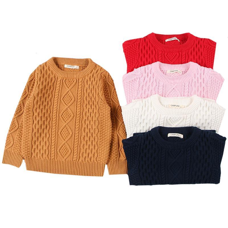 1-7yrs Girls suéter de manga larga Soft Algodón Suéteres Ropa para niños Autumn Kids Pullover Knitwear Boys Pullovers Outwear 210202