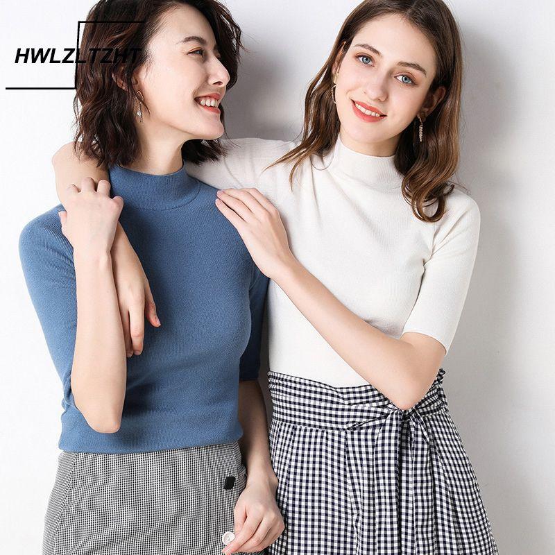 Hwlzltzht Mulheres Cashmere Turtleneck Manga Curta de Malha Tee Tee Base T Sweater Cashmere Plus Size Jumper 210224