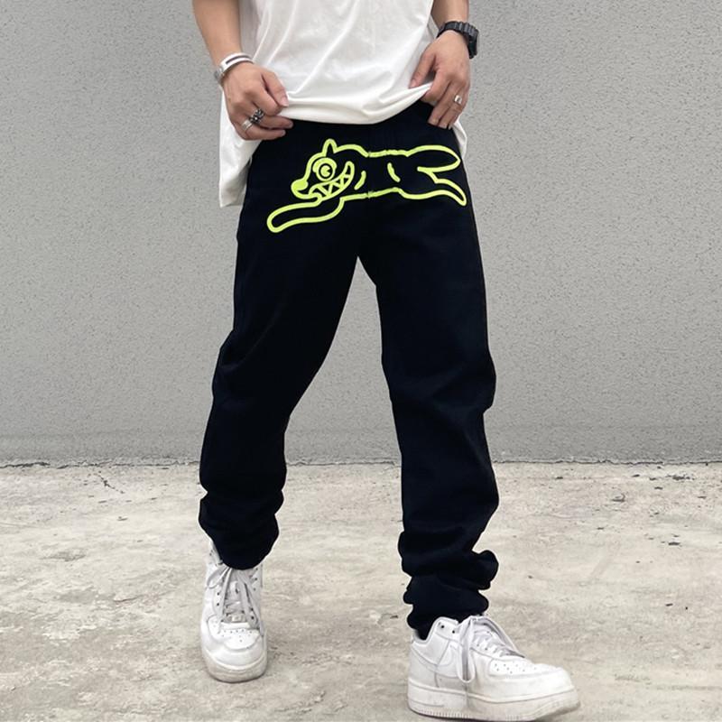 High Street Green Print Overalls bestickte gerade lockere lässige Jeans Hosen Mens Übergroße Denimhose