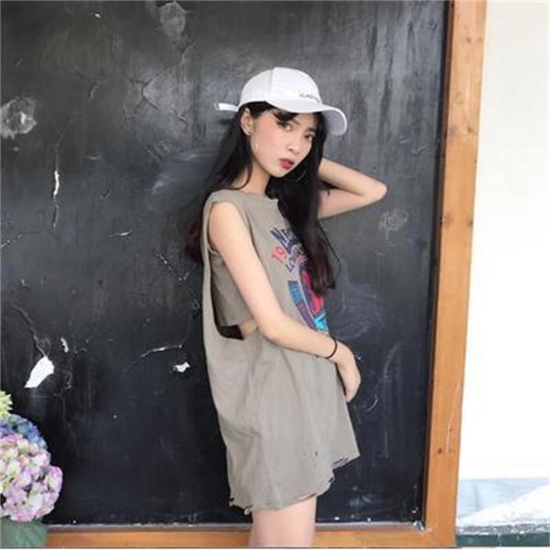 Fêmea 2020 Harajuku estilo mulheres verão sem mangas o-pescoço camisetas Basquete de estudante