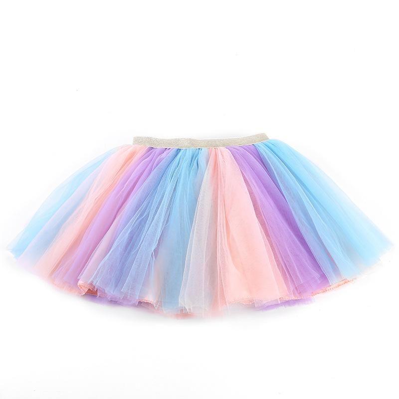 Skirts Girls Baby Ballet Dance Rainbow Tutu Toddler Glitter Gradiet Printed Ball Gown Party Clothes Kids Skirt Children