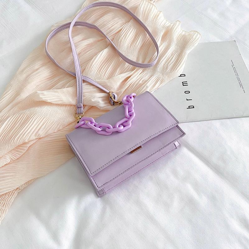 Moda Doces Crossbody Bag Mulheres Acrílico Corrente PU Envelope Ombro Bolsa de Ombro Sólida Senhora Satchel Feminino Sacos Diários Diários