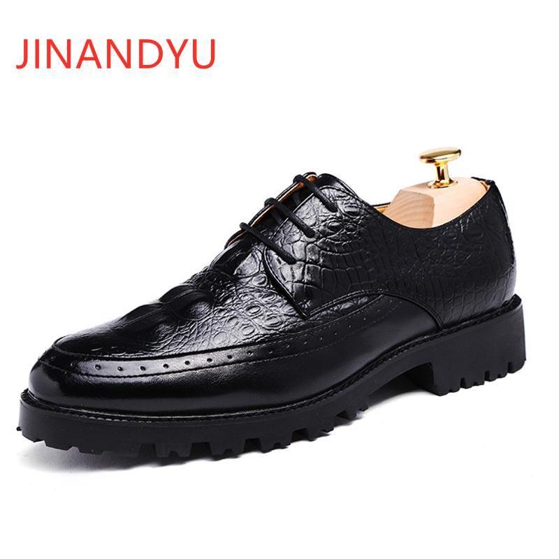 Обувь платье Британский стиль платформа броги Бизнес-кожа элегантный Zapato формальная вечеринка мужская свадебная обувь высочайшее качество мужчины