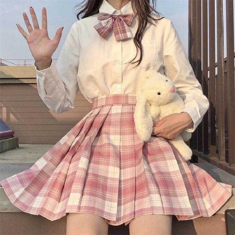 Jmprs xadrez mulheres plissada saia arco nó de verão cintura de alta cintura preppy meninas dançam mini saia fofo uma linha harajuku sexy japão japão faldas 210315