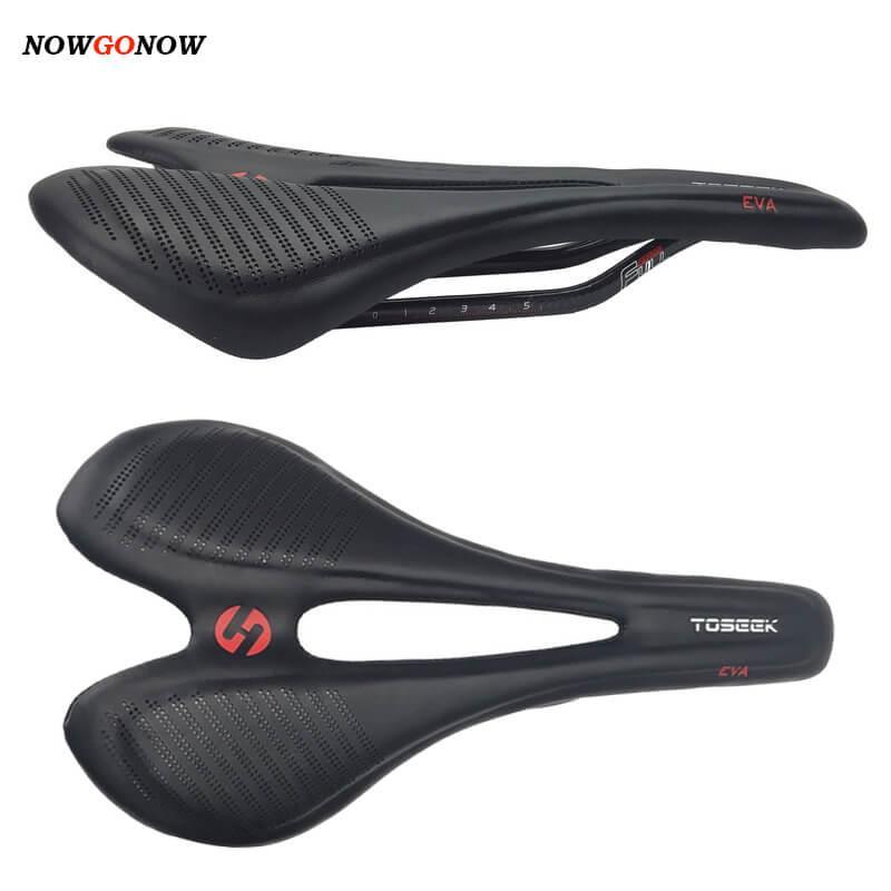 NowGonow Pro Racing Saddle de Carbono Microfibra Couro Saddle Box Genuine 271 * 143mm Sela de bicicleta 7 * 9 Curva de carbono Black 135g engrenagem de ciclismo