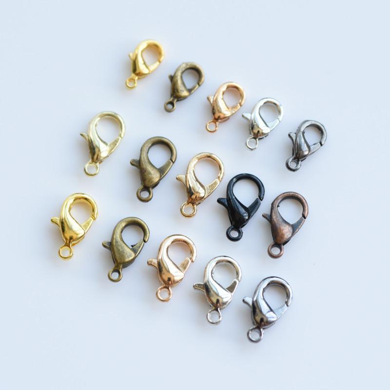 10 ملليمتر الفضة البرونزية مطلية بالذهب جراد البحر الزناد مخلب المشابك موصل مجوهرات diy النتائج مجوهرات مختلط اللون 100 قطعة / الوحدة