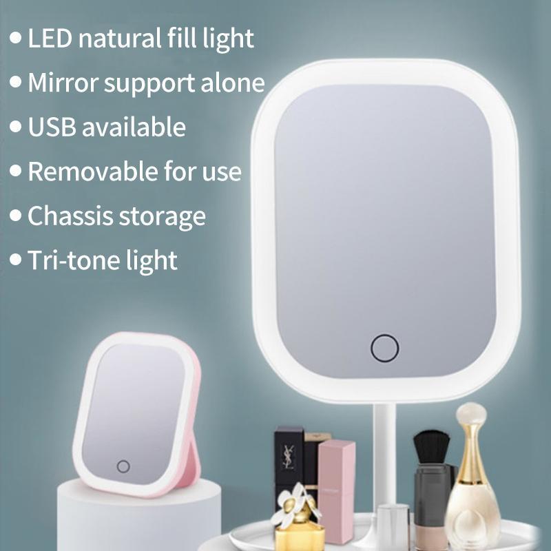المرايا المدمجة الصمام ضوء ماكياج مرآة التخزين الوجه قابل للتعديل لمسة باهتة USB الغرور الجدول الخلفية مستحضرات التجميل