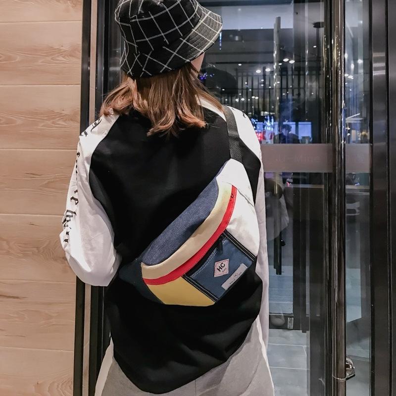 Sac de taille en toile coréenne à la mode Hip Hop Fanny Packs Men Casual Street Sac à poitrine Femmes Banana Bag Travel 210311
