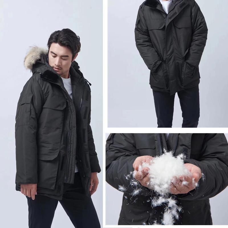 Inverno all'aperto tempo libero sport piumino bianco anatra bianca antivento Parker Parker Lungo Collare in pelle Cappello Caldo Real Wolf Fur Elegante classico Cappotto di avventura