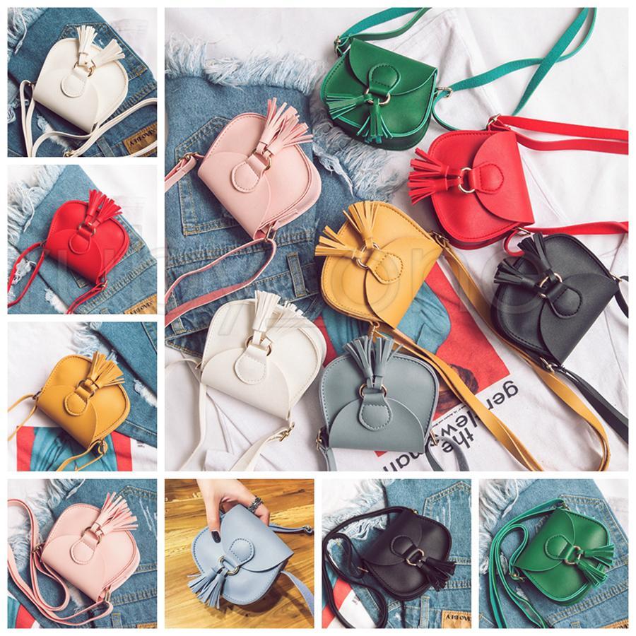 7 컬러 소녀가 Tassels PU 가방 2021 새로운 어린이 패션 싱글 어깨 핸드백 동전 지갑 가방 지갑 파티 호의 RRA4148