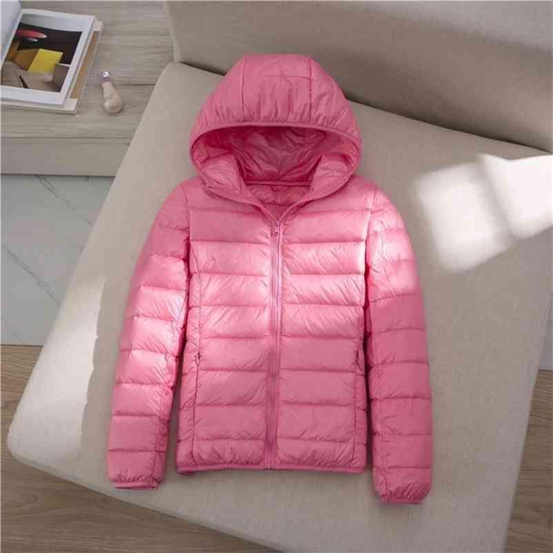 Herbst Winter Warm Down Jacke Mode Frauen Slim Mit Kapuze Reißverschluss Grundlegende Outwear Weibliche Kurzweide Duck Coats Parkas 210602