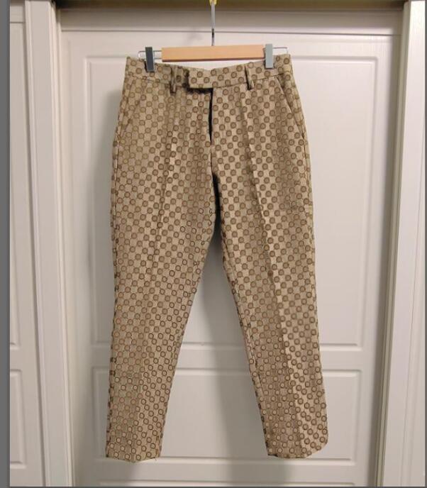 21SS Mens T Gömlek Pantolon İlkbahar Yaz Yeni Moda Erkekler Elbise Pantolon Sayaç Iş Rahat Slim Fit Suit Pantuson Kafes Mektup Desen Pantolon