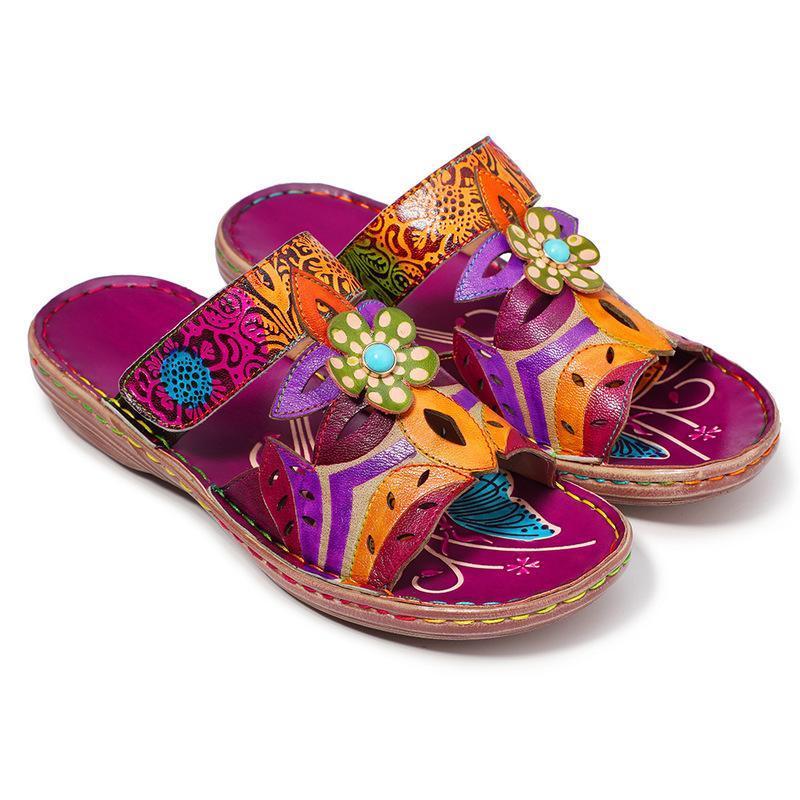 النعال الرجعية امرأة الأناقة خمر الطباعة colorblock الزهور نمط خياطة جلد طبيعي قابل للتعديل 3-4 سنتيمتر النساء الأحذية