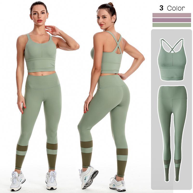 Trajes de yoga 2 piezas de las mujeres inconsútiles conjunto de entrenamiento de ropa deportiva ropa deportiva ropa de aptitud cultivo top chaleco sujetador alto cintura leggings deportes trajes deportivos