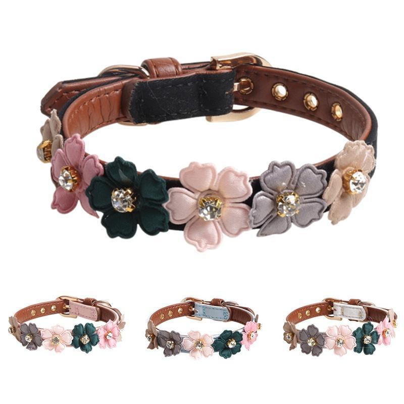 Hundekragen Leinen Haustier niedlich einstellbar PU-Kragen für kleine mittelgroße Hunde glänzende reizende bunte Blumen mit Diamanten
