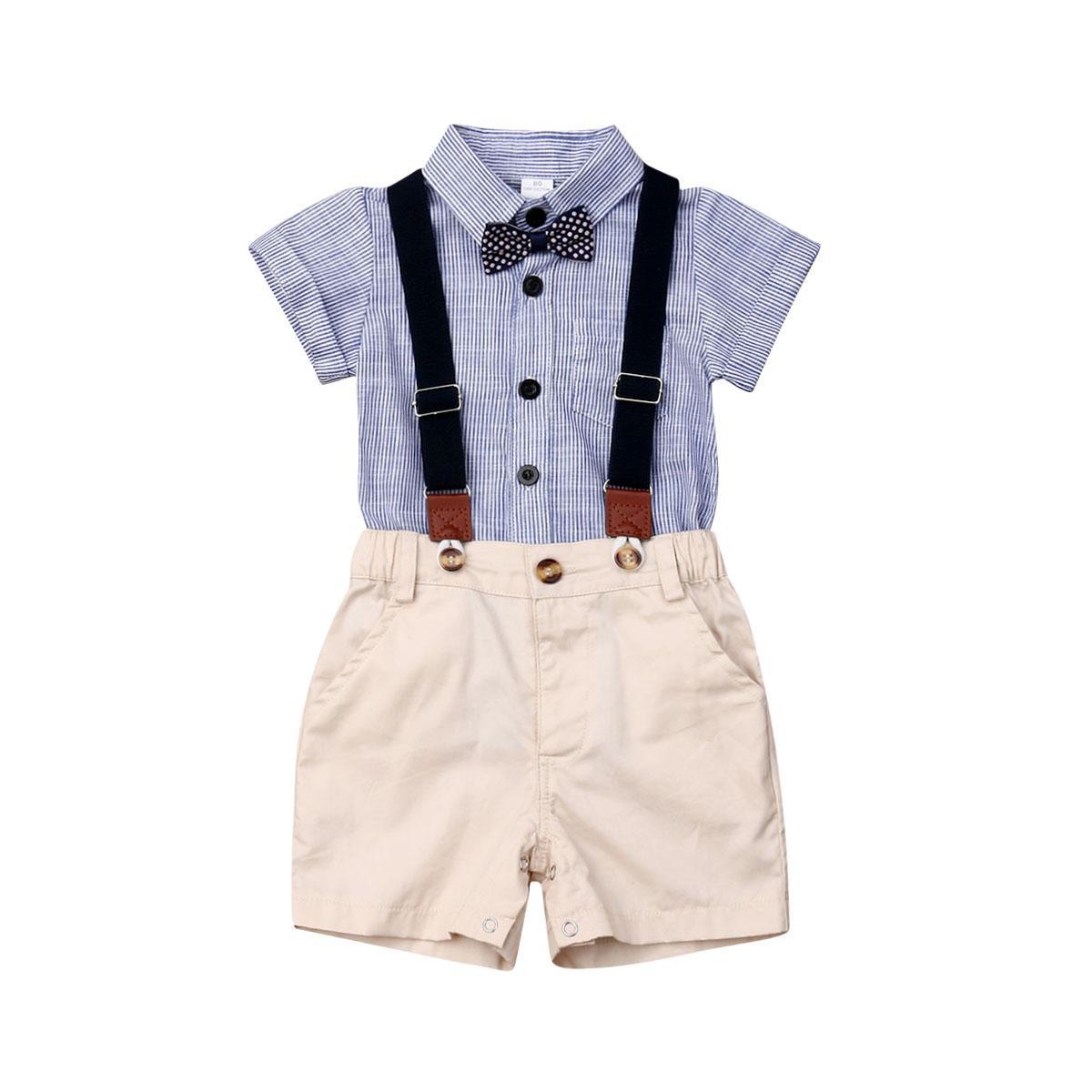 Neugeborenes Baby Kleidung Kurzarm Gestreifte Fliege Strampler Hosenträger Shorts Overalls 2 stücke Sommerkleidung Set