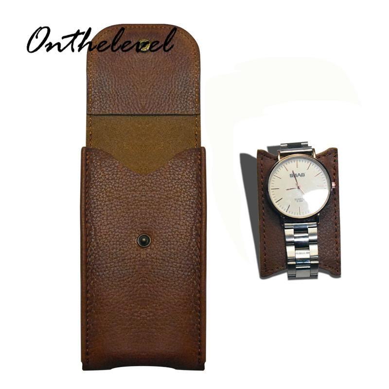 Watch Boxen Hüllen Echtes Leder Fall Lichee Muster Box 13 * 8 * 2.2cm Kollektion Schutz Black Brown Blue Display Bag #C