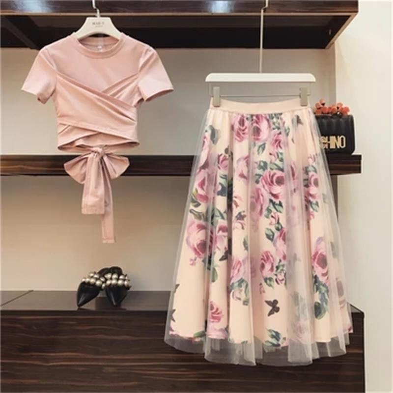 Sweet Women Print Rose Set Spring Summer Fashion Bandage Cross Cotton Blouses Tops and Long Midi A-line Skirts Suit 210304