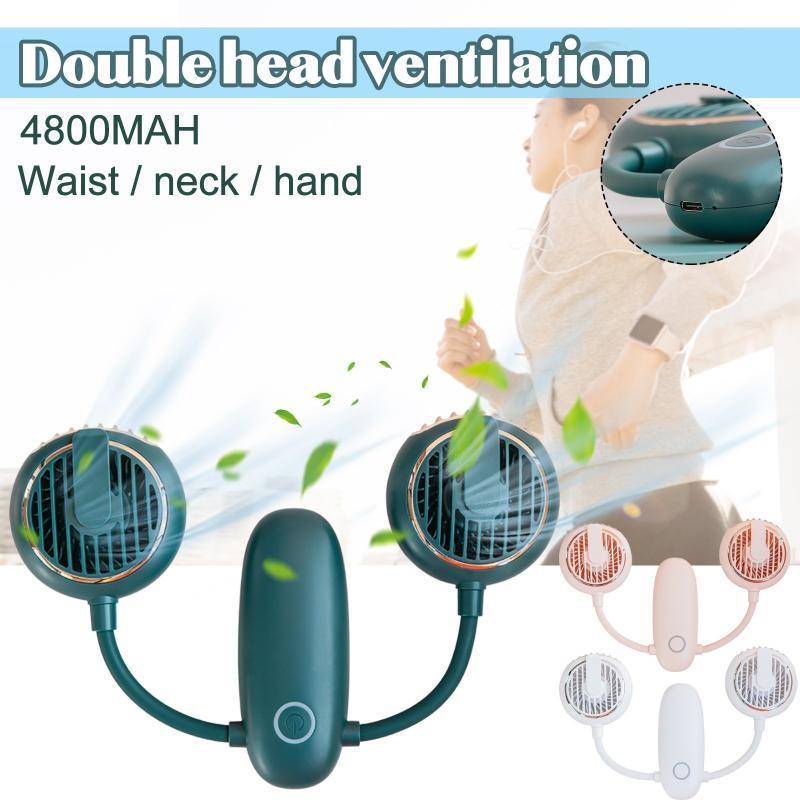 Portable 4800mHa Double tête Ventilation Ventilateur de ventilateur de ventilateur de coulée paresseuse Style de suspension Dual Refroidissement Ventilateur USB Rechargeable Mini # 4