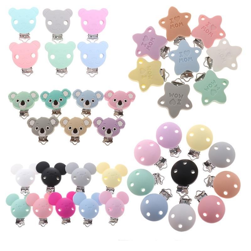 FKISBOX 10PC Urso Silicone Koala Mamilo Suporte BPA Grátis Mouse Chupeta Clipes Bebê Teether Colar Mastigando Clasps Chain 210226